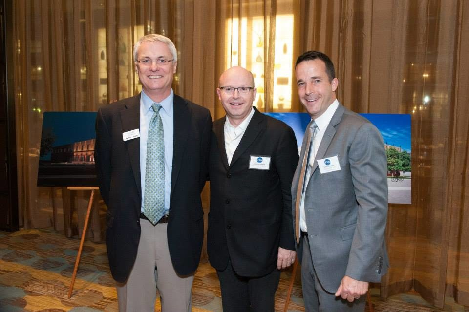 A.W. Hastings Executive Vice President and COO Keenan Burns (left), 7 Tide Architect Stephen Baker of Baker Design Group and Clarke President Sean Clarke at the 7 Tide launch announcement in 2014.